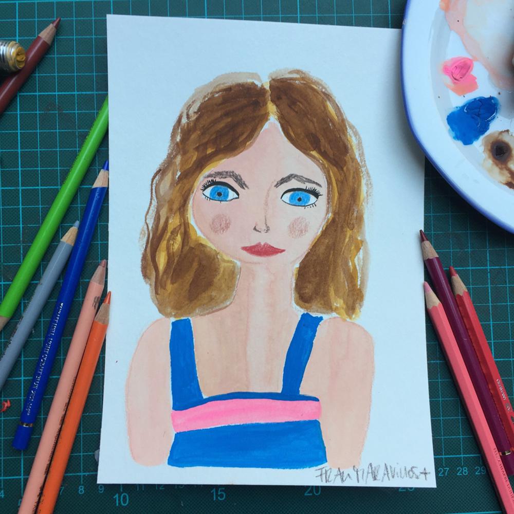 Frauenportrait, Gouache, Zeichnung, Auftragsarbeit