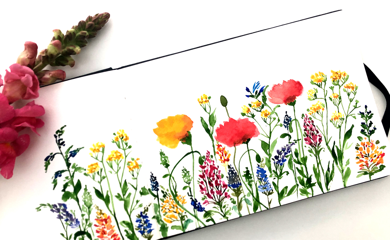 Blumenwiese Illustration Skizze