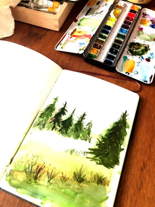 Illustrationen zum Waldbaden aus meinem Skizzenbuch