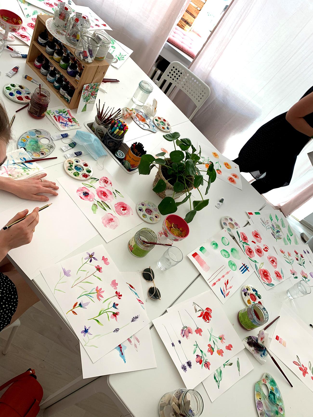 florales Aquarellmalen und Pinselschrift lernen
