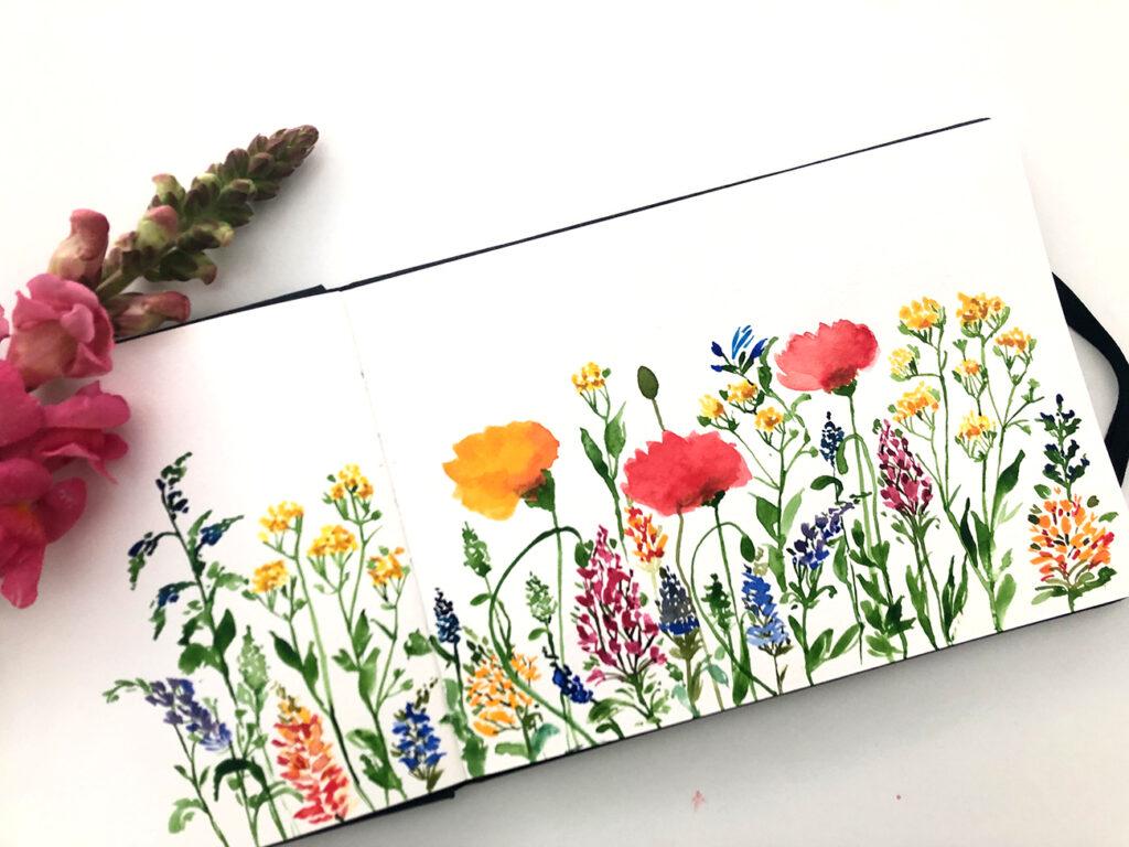 Blumen malen, Aquarellmalen illustrieren, Skizzenbuch