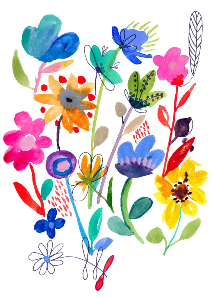 bunte Welt, Blumen, Aquarellfarben, Illustration