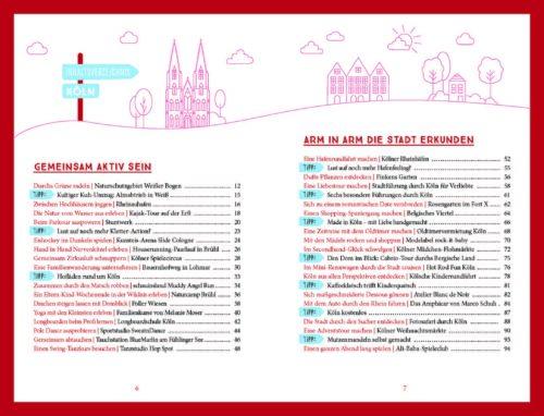 """Ein Blick in das Inhaltsverzeichnis des Buches """"Köln. Unterwegs mit deinen Lieblingsmenschen"""" vertreten (Abbildung: Emons Verlag)"""