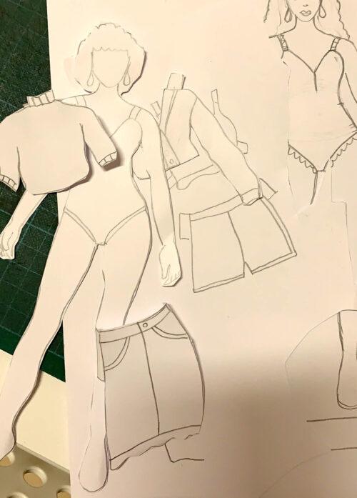 Schneide die Einzelteile der Frau-Maravillosa-Anziehpuppe aus und bemale sie nach Lust und Laune