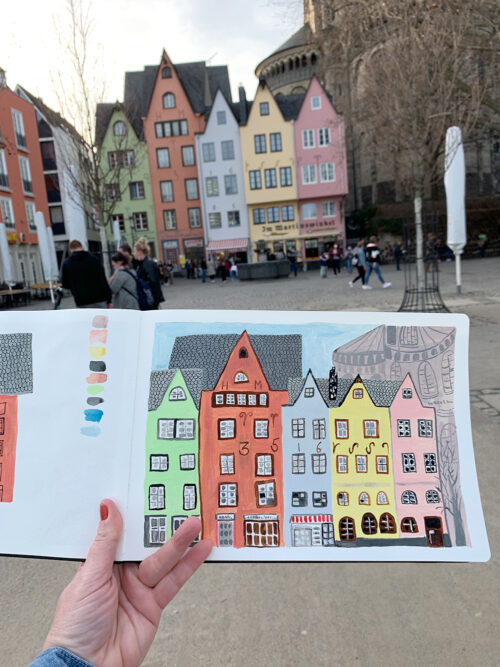 Während des Lockdowns hatte ich viel Zeit, um Köln mit dem Skizzenbuch erkunden.