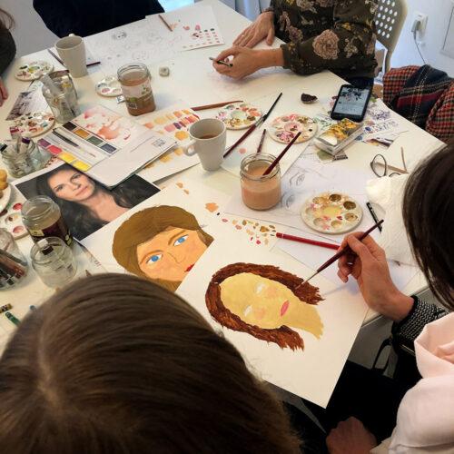 Porträt-Workshop in meinem Atelier in der Kölner Südstadt.