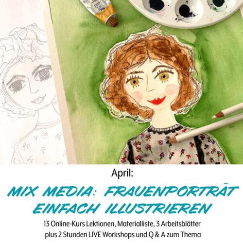 Fraueneportraet illustrieren, Aquarell, Aquarellstifte, Mix Media